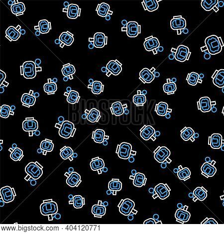 Line Aftershave Icon Isolated Seamless Pattern On Black Background. Cologne Spray Icon. Male Perfume