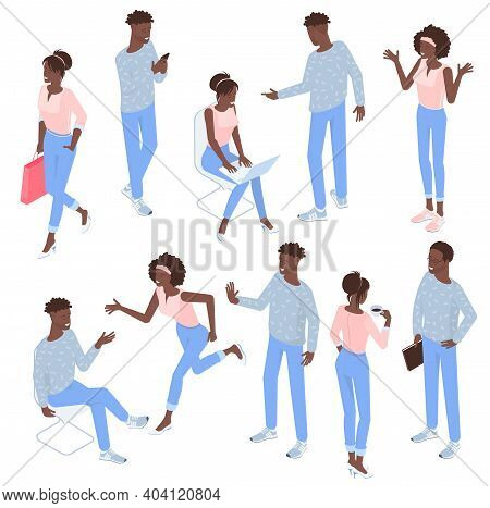 Set Of Isometric Flat Design Vector Black Man And Woman Character Poses And Activities. Isometric Ac