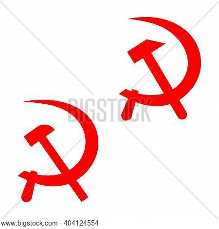 Set Of Two Red Symbols Of The Ussr Crossed Hammer And Sickle. Unity Of Workers And Peasants. Vector