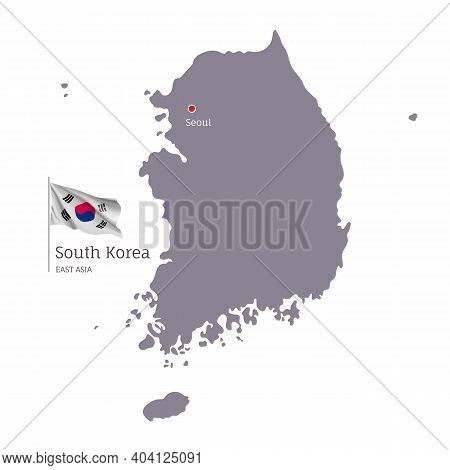 Silhouette Of South Korea Country Map. Gray Editable Map Of South Korea With Waving National Flag An