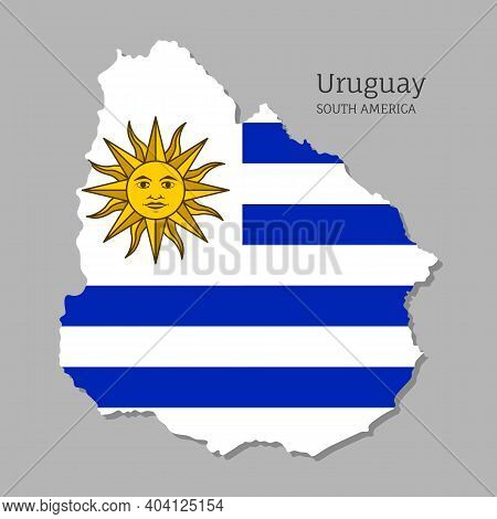 Map Of Uruguay With National Flag. Highly Detailed Editable Uruguayan Map, South America Country Ter