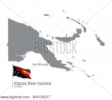 Silhouette Of Papua New Guinea Country Map. Gray Detailed Editable Map With Waving National Flag And