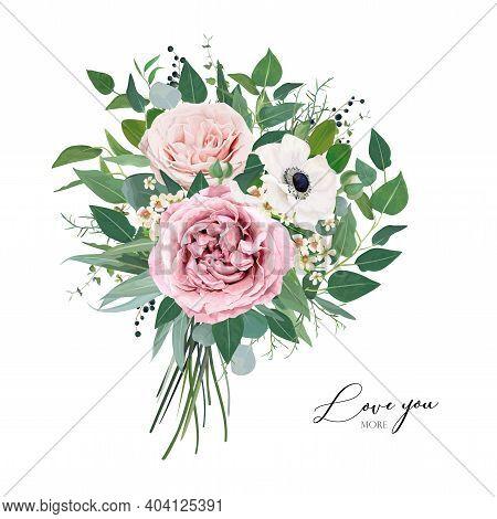 Vector, Editable Floral Watercolor Style Bouquet Illustration. Stylish, Elegant Mauve, Dusty Pink Ga