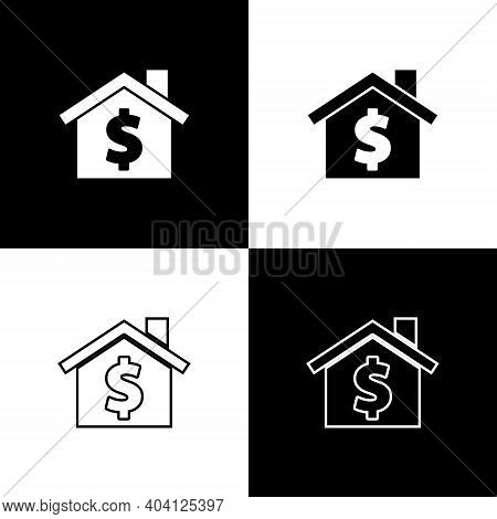 Set House With Dollar Symbol Icon Isolated On Black And White Background. Home And Money. Real Estat