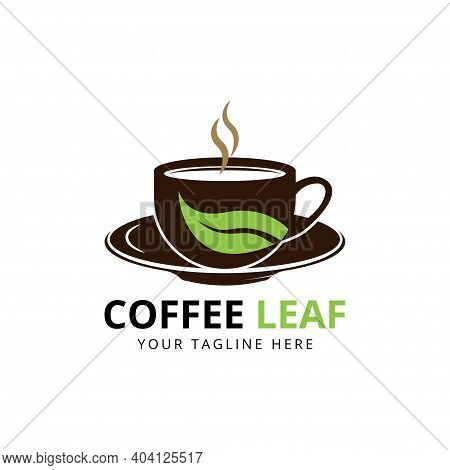 Nature Coffee Logo Designs, Leaf Cup Logo Symbol