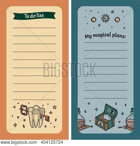 To Do List. Magic Notebook For Masonic Plans With Witch Elements. To Record, List, Milestone. Childr