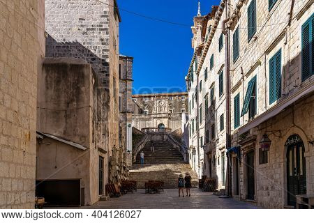 Dubrovnik, Croatia - Jun 21, 2020: Jesuits Staircase, The Grand Staircase That Leads From Gundulic S