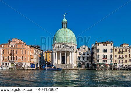 Venice, Italy - Jun 29, 2020: San Simeone Piccolo Church On The Grand Canal In Venice Right In Front