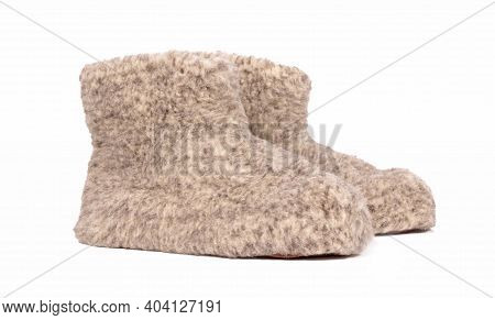 Warm Woolen Indoor Slippers, Isolated On White