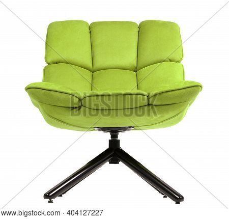 Modern Green Suede Lounge Chair Isolated On White Background