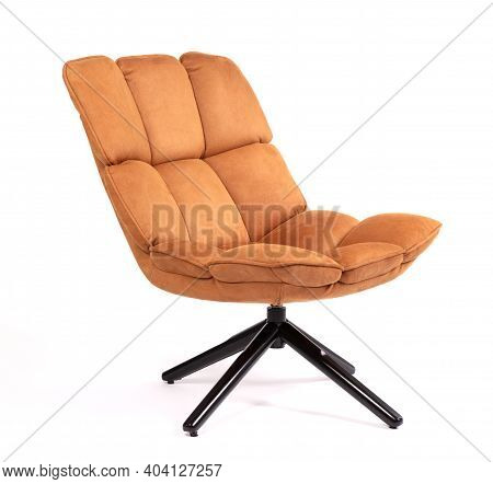 Modern Brown Suede Lounge Chair Isolated On White Background