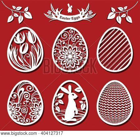 Easter Eggs Set. Tulip, Sunflower In Eggs. Awhite Ornamental Eggs For Laser Cutting On Red Backgroun