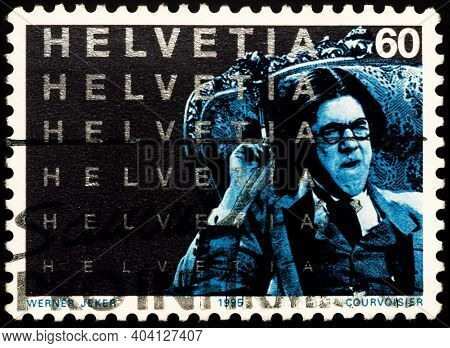 Moscow, Russia - January 15, 2021: Stamp Printed In Switzerland Shows Scene From Motion Picture La V