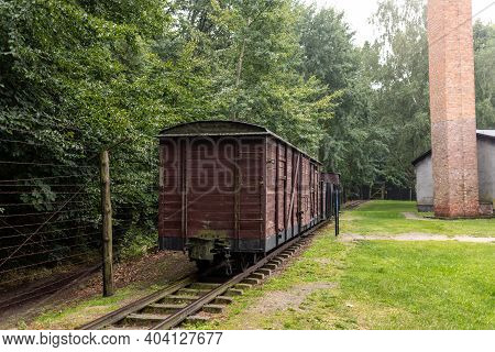 Sztutowo, Poland - Sept 5, 2020: Wagons Of The Narrow-gauge Railway Charateristic For The Former Naz