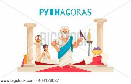 Pithagoras Composition With Doodle Character Of Ancient Greek Mathematician Pythagor With Columns Re