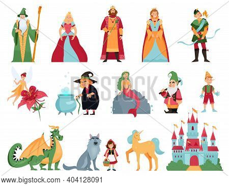Fairy Tale Characters Cartoon Set Of Mermaid Thumbelina Dragon Unicorn Pinocchio Little Red Riding H