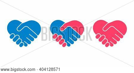 Hands Shake, Heart And Help Symbol. Handshake Icon Set. Man And Woman Communication, Lover Couple, L