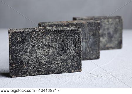 Natural Tar Soap On White Table, Closeup