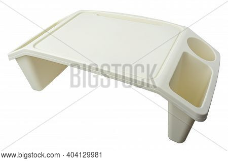 Plastic Tray Table. Table For Eating In Bed. Tray Table Isolated On A White Background.
