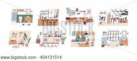 Set Of Scandi Interiors Isolated On White Background. Cozy Furnished Rooms Wc, Bathroom, Bedroom, Li
