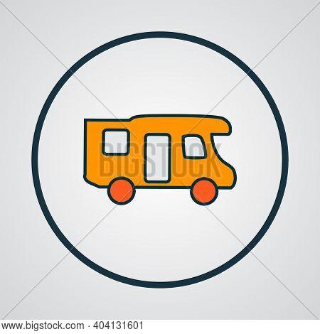 Campervan Icon Colored Line Symbol. Premium Quality Isolated Caravan Element In Trendy Style.