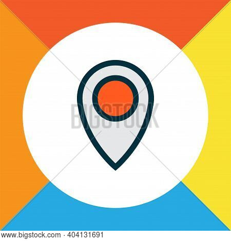 Location Icon Colored Line Symbol. Premium Quality Isolated Pinpoint Element In Trendy Style.