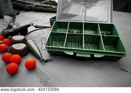 Plastic Compartment Case And Fishing Tackle Top View