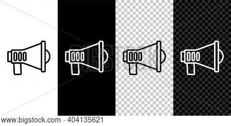 Set Line Megaphone Icon Isolated On Black And White, Transparent Background. Speaker Sign. Vector