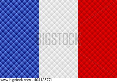 Mosaic Flag Of The France - Illustration,  Three Dimensional Flag Of France