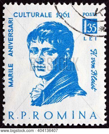 Romania - Circa 1961: A Stamp Printed In Romania Shows Heinrich Von Kleist, Was A German Poet, Drama