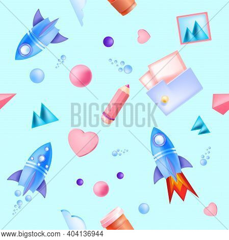 Online Education, Studying School Kids Vector Seamless Pattern With Flying Rocket Ships, Folder, Pen