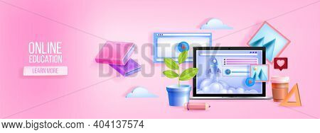 Online Studying, Digital School, Classes, Education Training, E-learning Vector Web Banner With Lapt