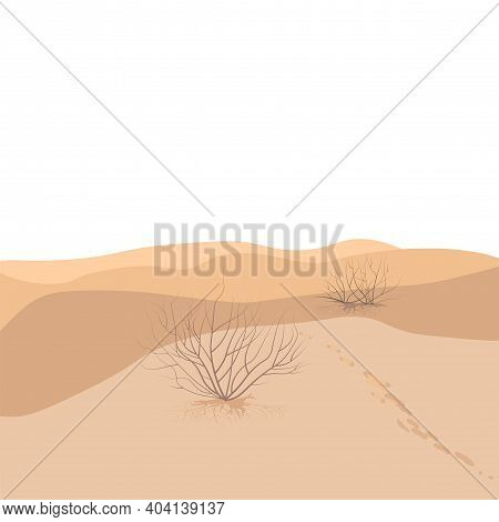Sandy Desert Vector Stock Illustration. Dunes. Sandy Beach, Hot Beach. Landscape. Bed Minimalist Pos