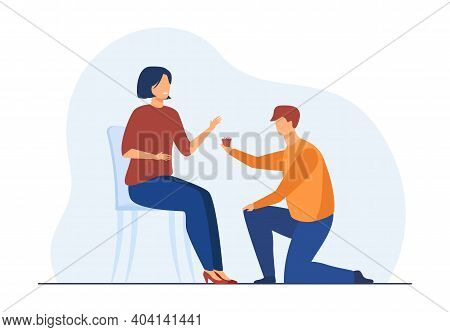 Man Kneeling On One Knee And Giving Little Present To Woman. Boyfriend Propose Girlfriend. Flat Vect