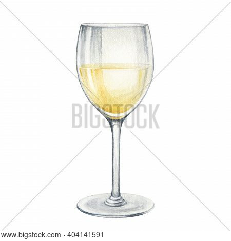 White Wine Glass Watercolor Illustration. Hand Drawn Realistic Fresh Alcohol Beverage Element. Crist