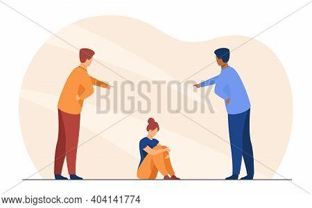 Men Bullying Depressed Woman. Shaming Victim, Abuser, Aggression. Flat Vector Illustration. Social P