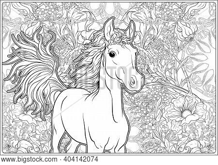 Horse And Flowers. Outline Vector Illustration. Coloring Page For The Adult Coloring Book. .