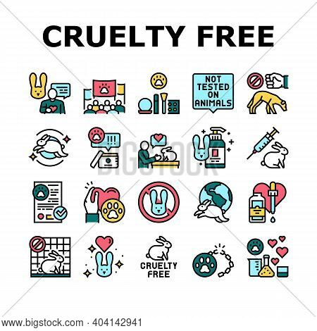 Cruelty Free Animals Collection Icons Set Vector. Not Tested On Rabbit And Dogs, Cruelty Free And St