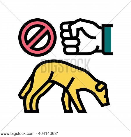 Stop Beat Dogs Color Icon Vector. Stop Beat Dogs Sign. Isolated Symbol Illustration