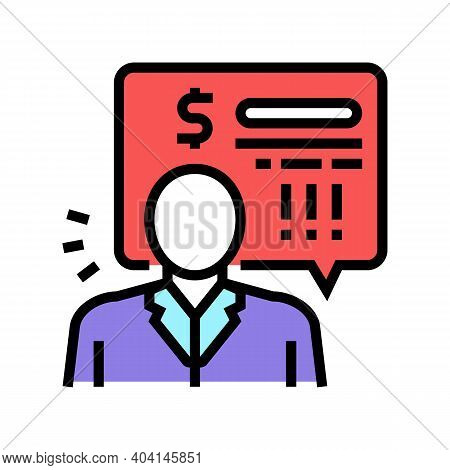 Bank Employee Demand Money For Pay Loan Color Icon Vector. Bank Employee Demand Money For Pay Loan S
