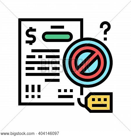 Refuse Loan Color Icon Vector. Refuse Loan Sign. Isolated Symbol Illustration