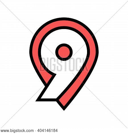 Ninth Number Color Icon Vector. Ninth Number Sign. Isolated Symbol Illustration