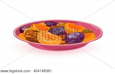 Healthy, Nutritious, Vitaminized Dried Fruits. Vector Apricots, Nuts, Dates, Vegetarian Food, Natura