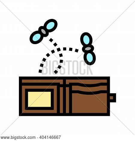 Empty Wallet Color Icon Vector. Empty Wallet Sign. Isolated Symbol Illustration