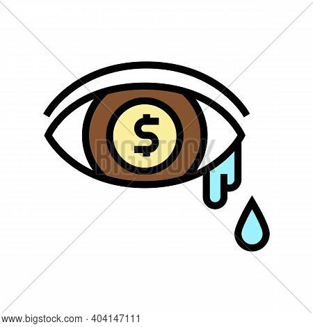 Money Tears Poverty Problem Color Icon Vector. Money Tears Poverty Problem Sign. Isolated Symbol Ill