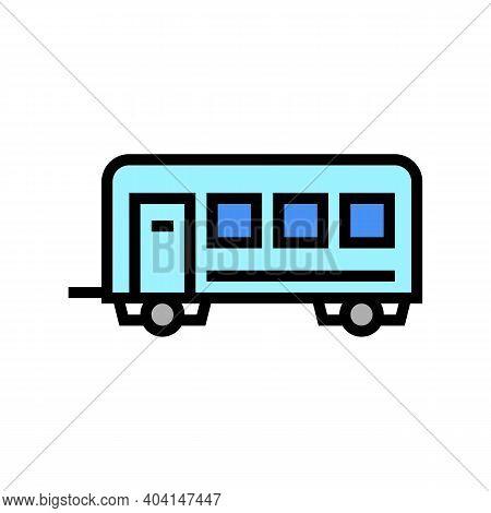 Passengers Transportation Trailer Color Icon Vector. Passengers Transportation Trailer Sign. Isolate