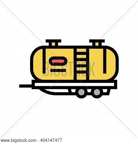 Petrol Transportation Trailer Color Icon Vector. Petrol Transportation Trailer Sign. Isolated Symbol