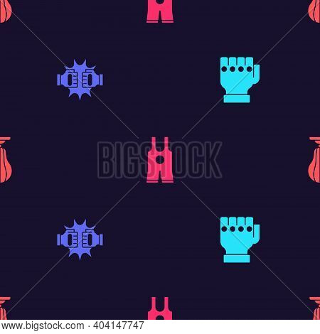 Set Mma Glove, Punch In Boxing Gloves, Wrestling Singlet And Punching Bag On Seamless Pattern. Vecto