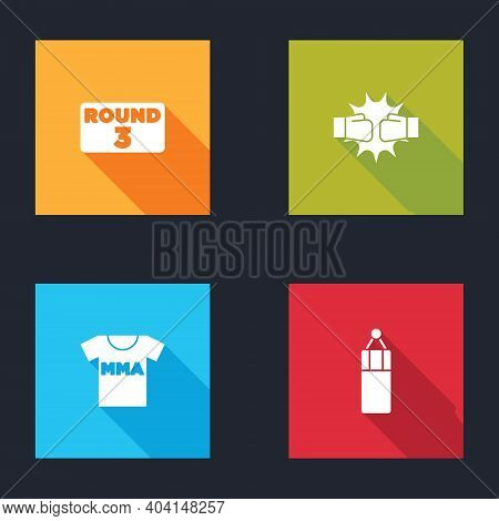 Set Boxing Ring Board, Punch Boxing Gloves, T-shirt With Fight Club Mma And Punching Bag Icon. Vecto