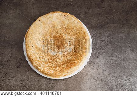 Breakfast Food, Homemade Pancakes On Plate On Dark Work Kitchen Countertop. Sweet Traditional Desser